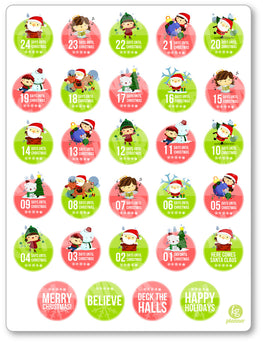 Christmas Countdown PDF PRINTABLE Planner Stickers - Planner Penny