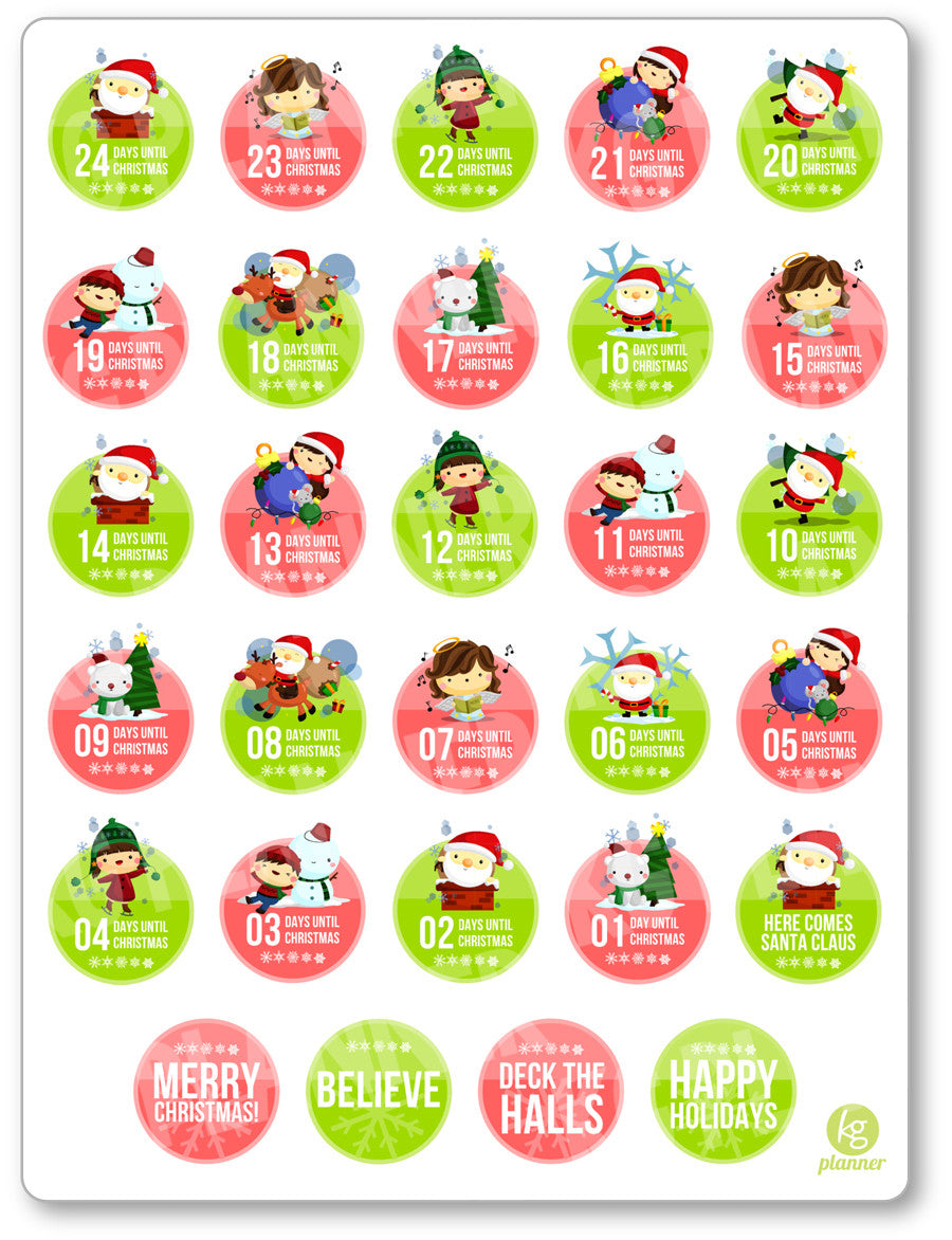 graphic about Printable Christmas Stickers referred to as Xmas Countdown PDF PRINTABLE Planner Stickers
