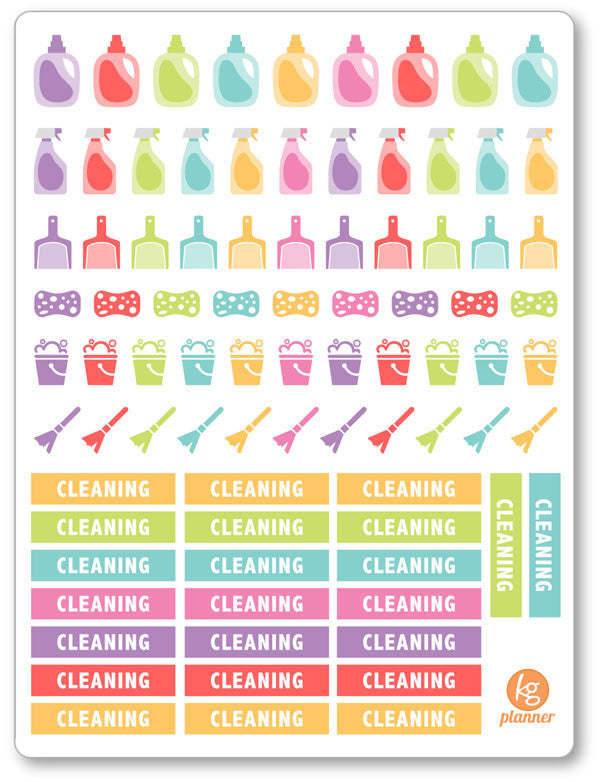 Cleaning Kit PDF PRINTABLE Planner Stickers - Planner Penny