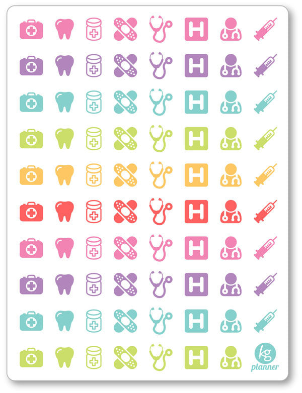graphic regarding Printable Planner Stickers called Health practitioner Variety PDF PRINTABLE Planner Stickers