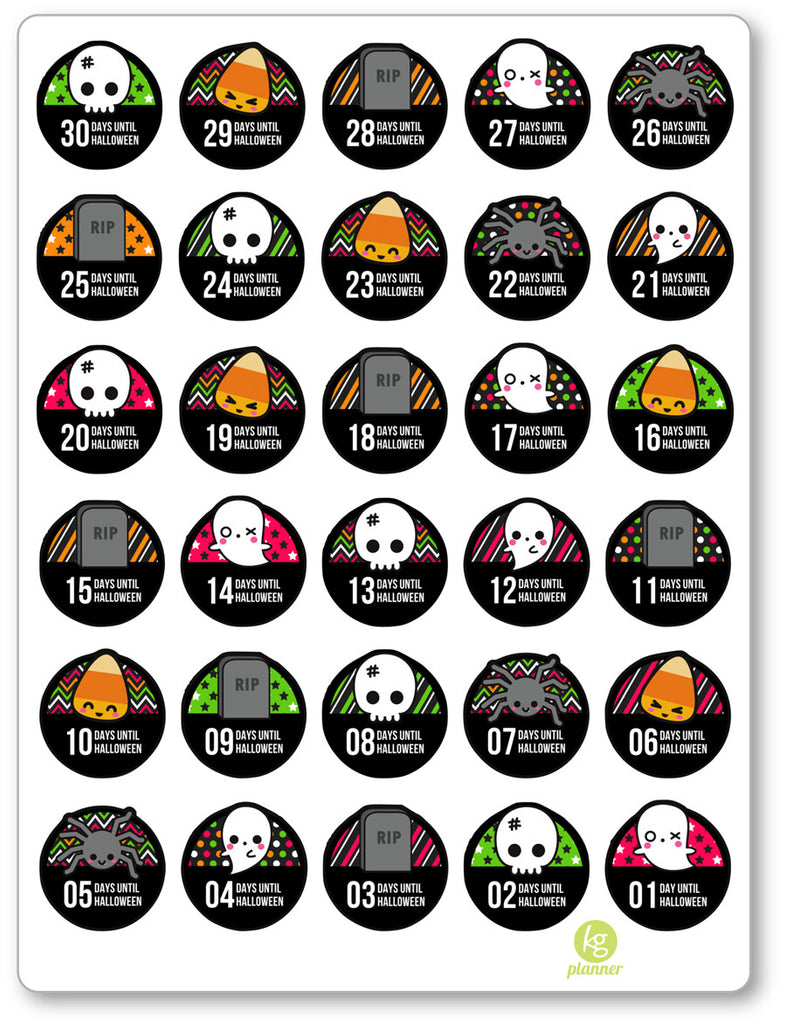 Halloween Countdown PDF PRINTABLE Planner Stickers ...