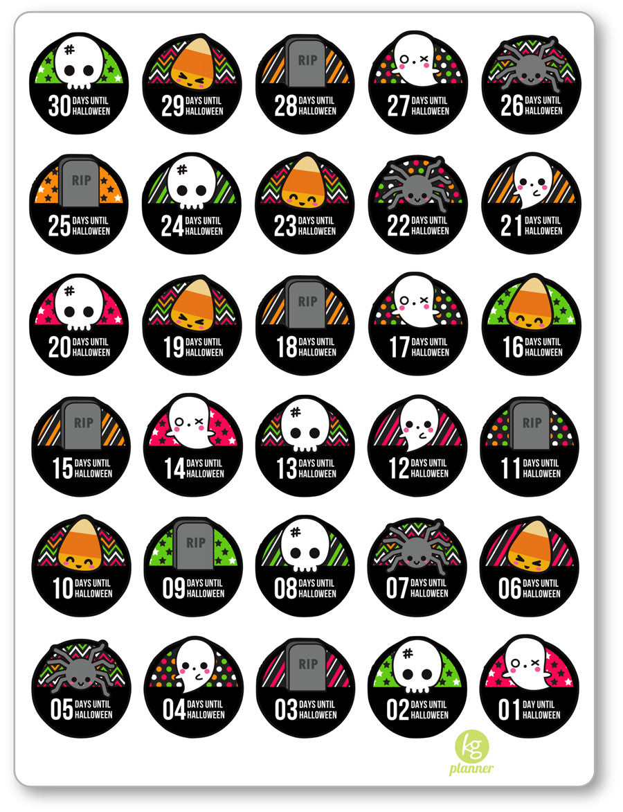 Halloween Countdown PDF PRINTABLE Planner Stickers - Planner Penny