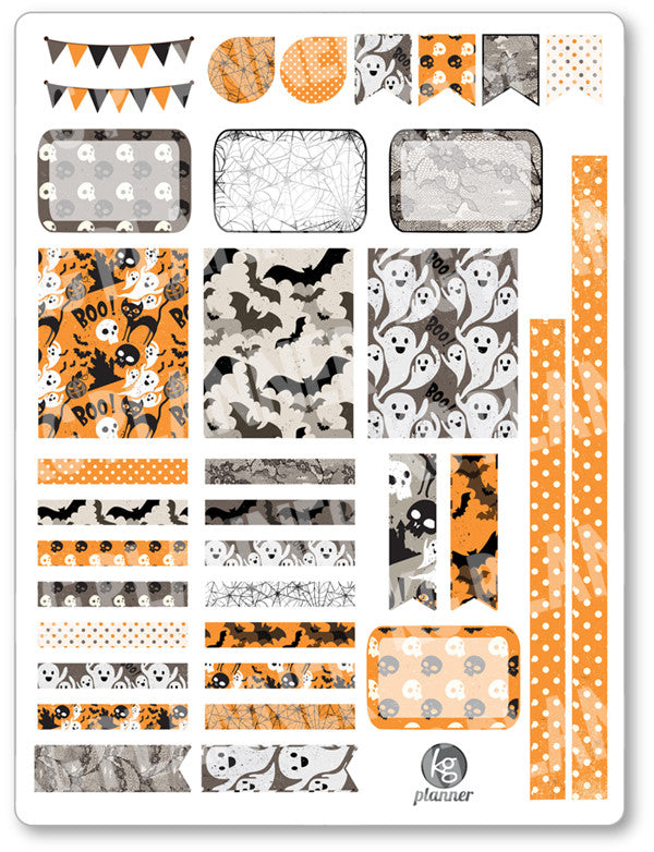 Old Halloween Decorating Kit PDF PRINTABLE Planner Stickers