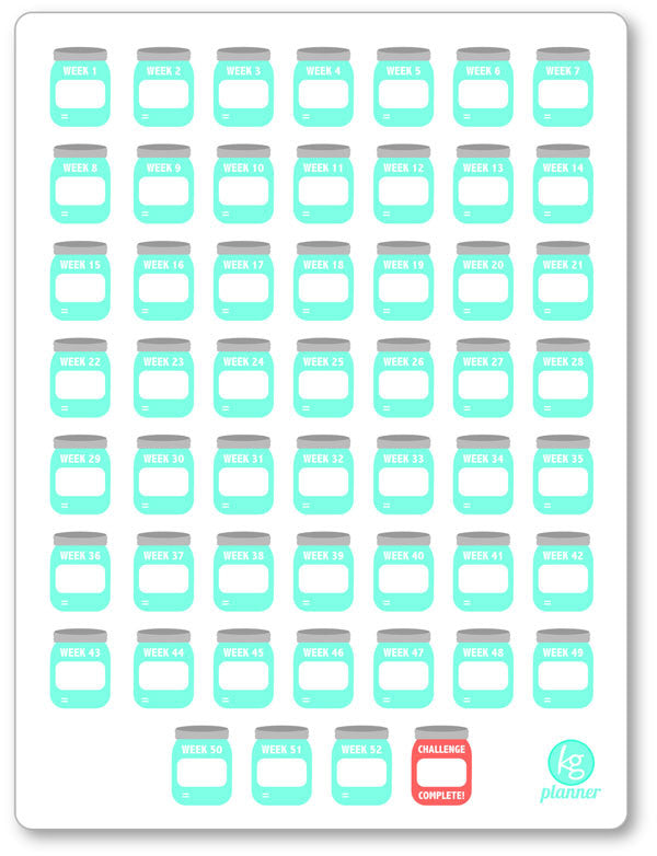 picture about Blank Planner called BLANK Develop Your Personalized 52 7 days Discounts Dilemma PDF PRINTABLE Planner Stickers