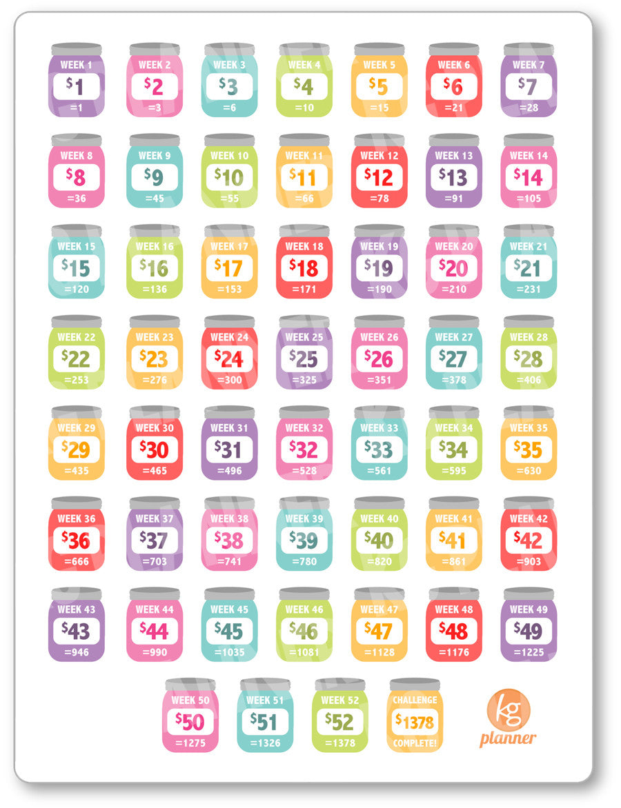 photo about Printable Planner titled Rainbow Unique 52 7 days Cost savings Concern PDF PRINTABLE Planner Stickers