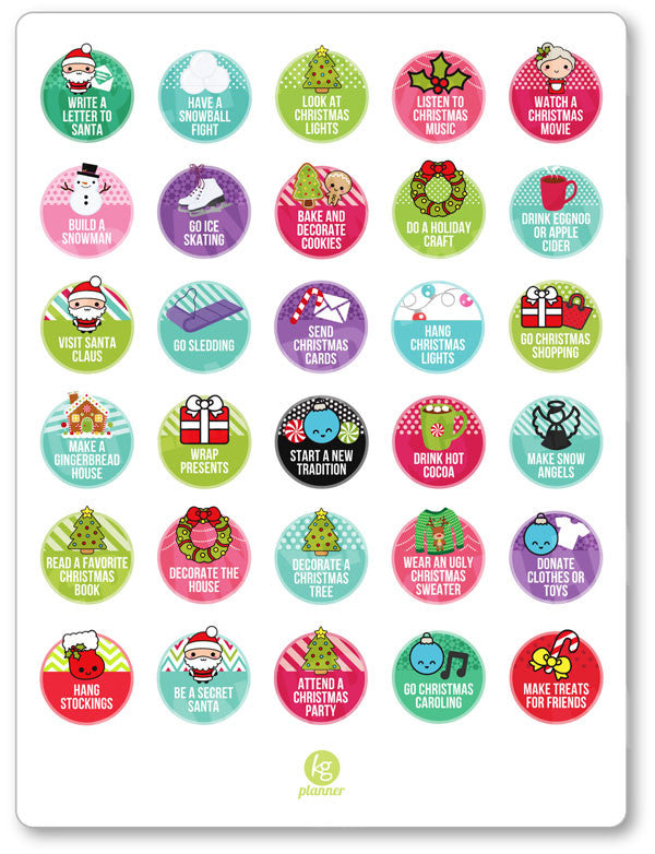 Winter Bucket List Pdf Printable Planner Stickers Planner Penny
