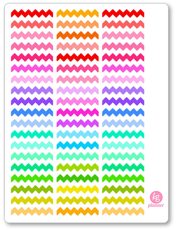 Zig Zags PDF PRINTABLE Planner Stickers - Planner Penny