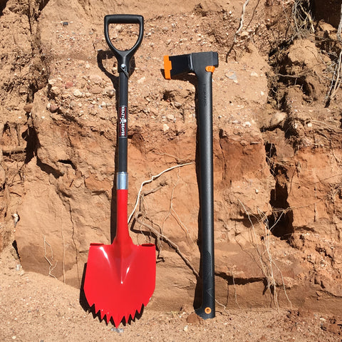 "Krazy Beaver Shovel (Black/Red) and 36"" Fiskar Splitting Axe"