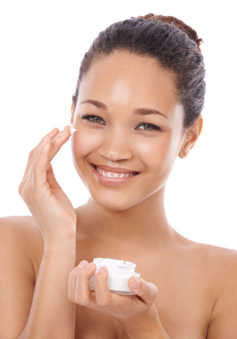 Girl Applying Skin Care Products