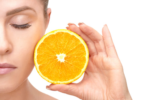 woman with vitamin c
