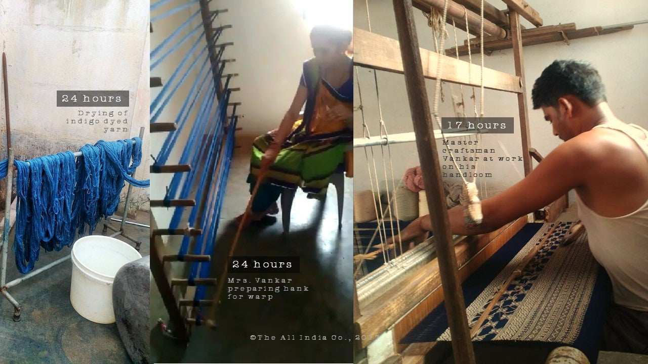 The All India Co TAIC making of handcrafted indigo dyed pure wool throws on handloom Gujarat