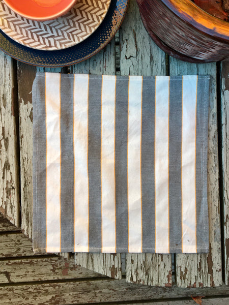 Land Healer - Graphite Mustard Bold Stripes Lunch Napkin