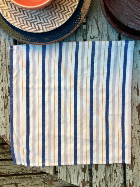 Land Healer - Navy Mustard Stripes Lunch Napkin