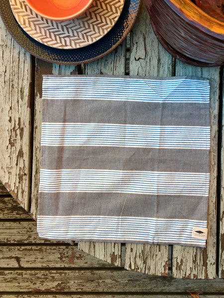 Land Healer - Graphite Navy Micro Stripes Lunch Napkin