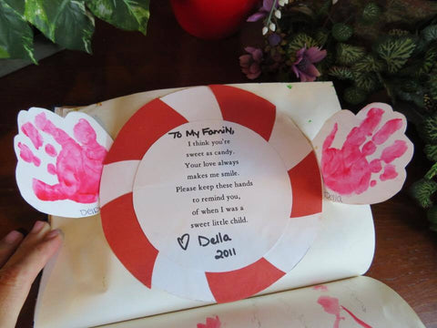 Pop out child handprints and family poem