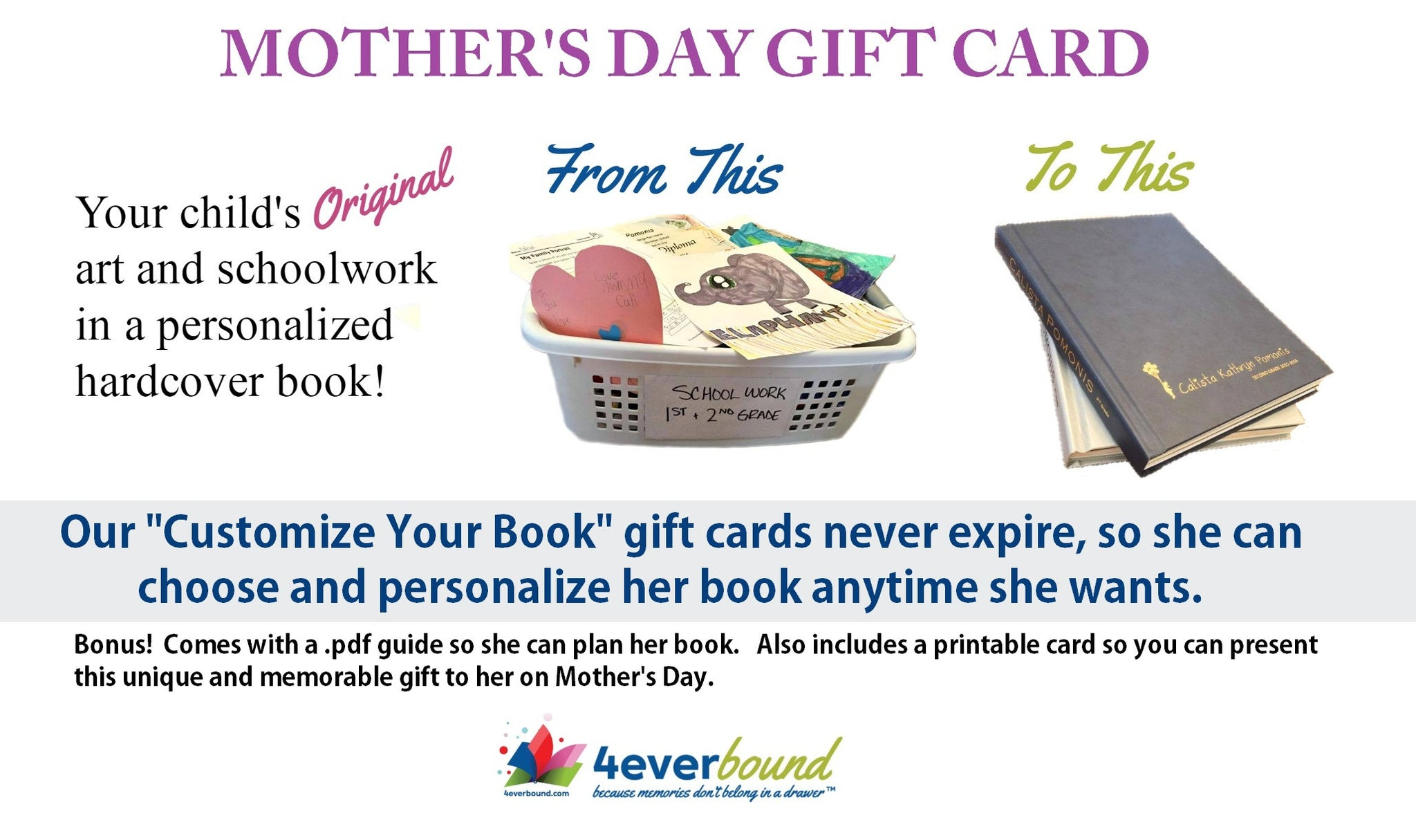 Mother's Day Gift Cards for 4everBound Personalized Hardcover Books
