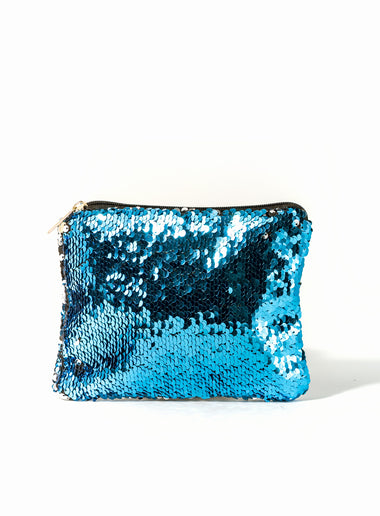 Changing Sequins Makeup Bag - Blue and Silver