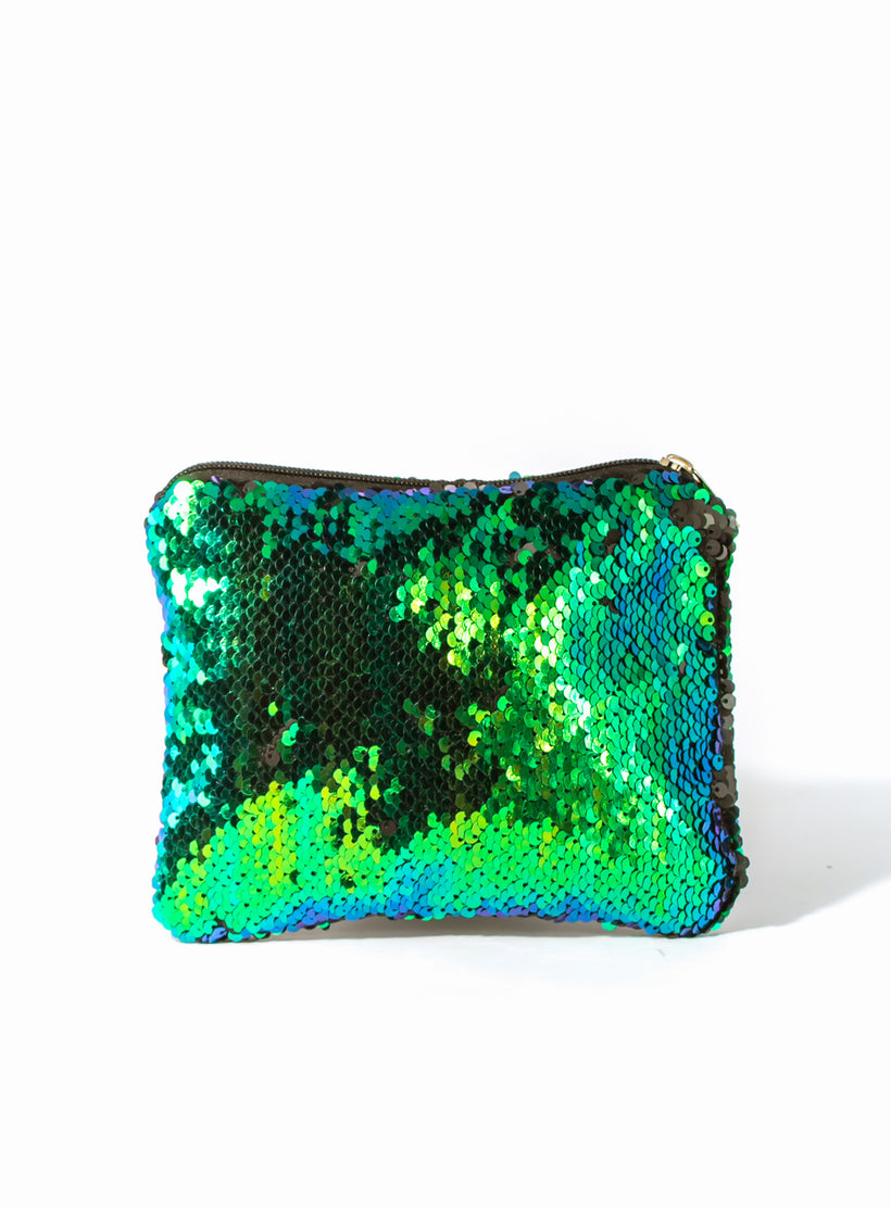 Changing Sequins Makeup Bag - Blue and Green