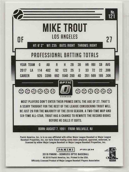 2018 Donruss Optic Variation Holo Mike Trout #121