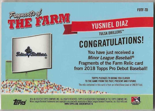 2018 Topps Pro Debut Fragments of the Farm Relic Yusniel Diaz #FOTFTD