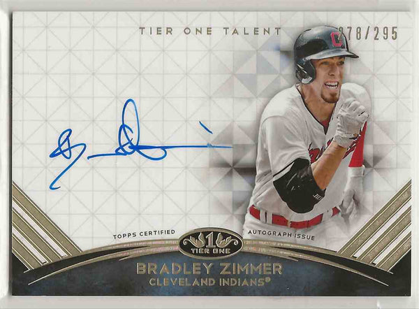 2018 Topps Tier One Talent Certified Auto Bradley Zimmer #TTA-BZ - 278/295