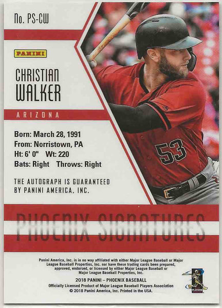 2018 Panini Phoenix Signatures Christian Walker #PS-CW