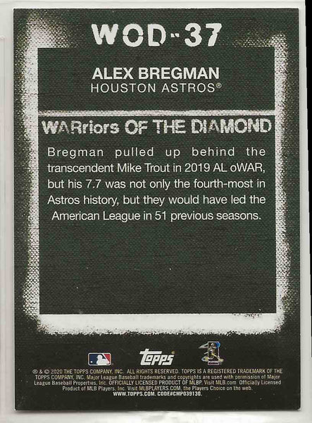 2020 Topps WARriors of the Diamond Alex Bregman #WOD-37