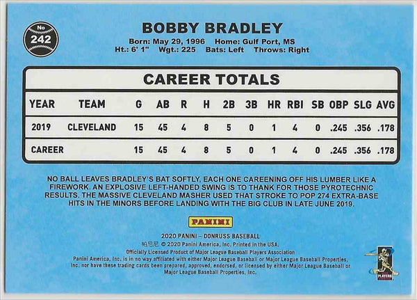 2020 Donruss Retro Variation Bobby Bradley #242