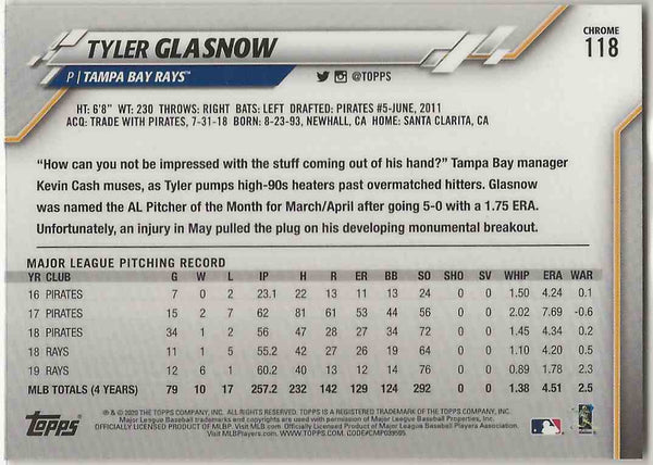 2020 Topps Chrome Tyler Glasnow #118