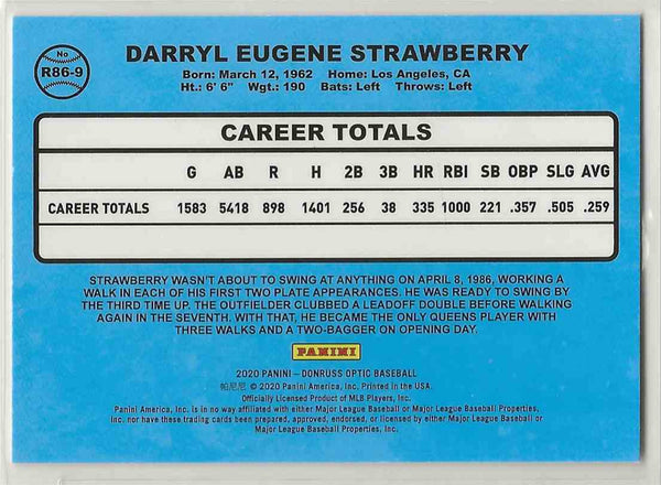 2020 Donruss Optic Retro Darryl Strawberry #R86-9