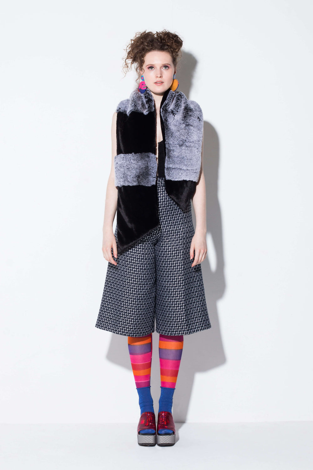 suitcase of memories| a fun faux fur scarf accessory in colour blocks from jin & yin styled with hand-pained tights