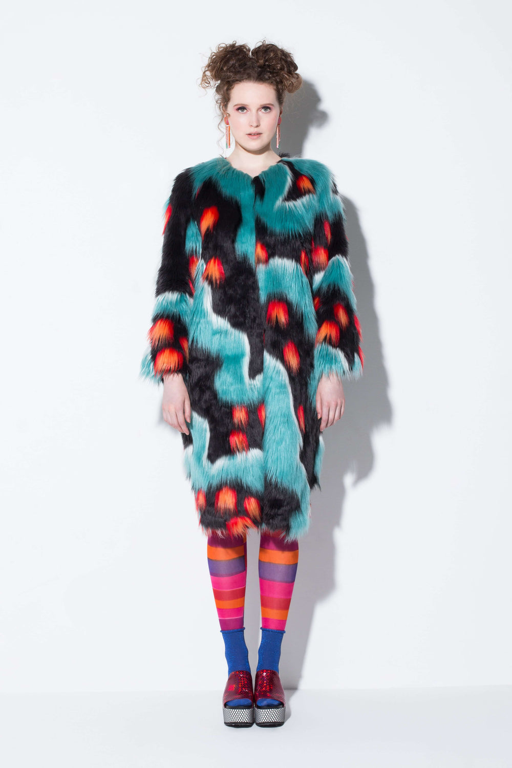 jinyin code| a quirky faux fur coat in blue desert from jin & yin front view