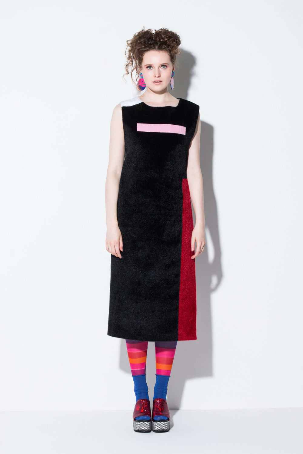 day meets night|a key piece faux fur long vest in black white red pink colourway from jin & yin front view