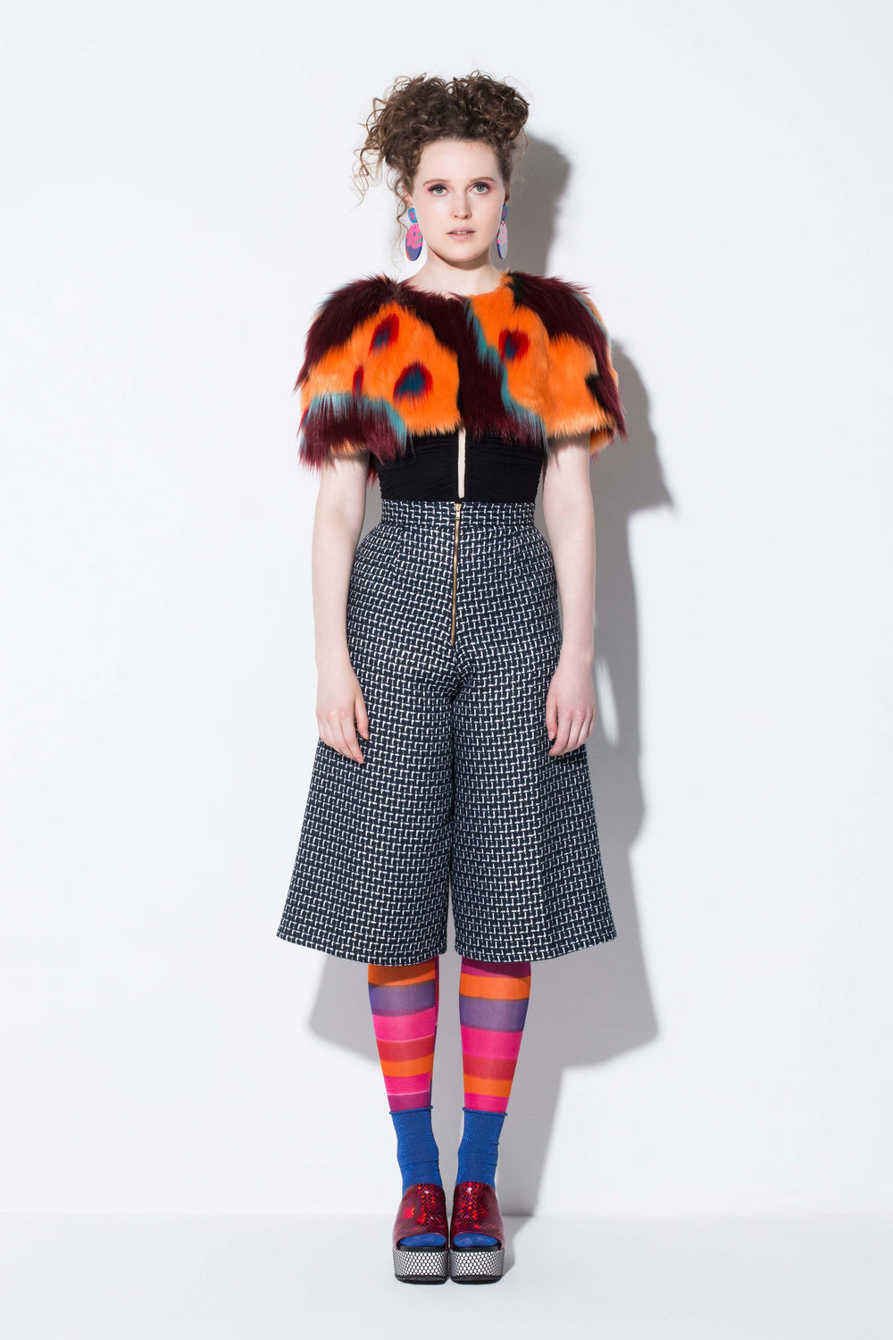 3 seasons| a practical orange desert patterned faux fur capelete accessory from jin & yin front view