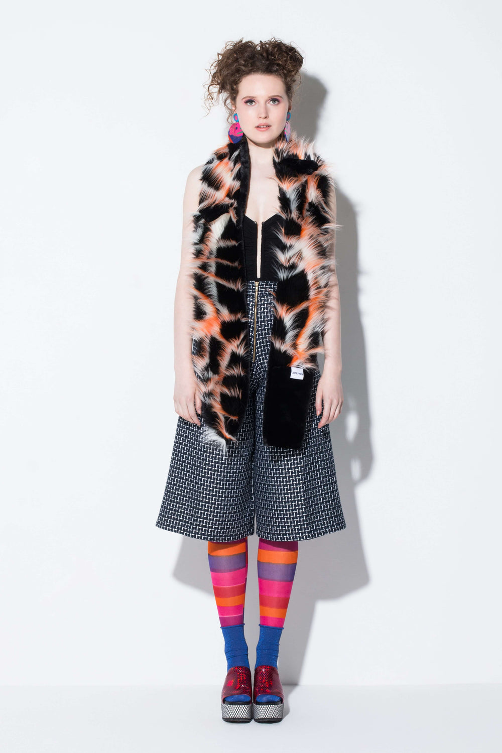 suitcase of memories| a fun faux fur scarf accessory in colour blocks from jin & yin styled with hand-painted tights