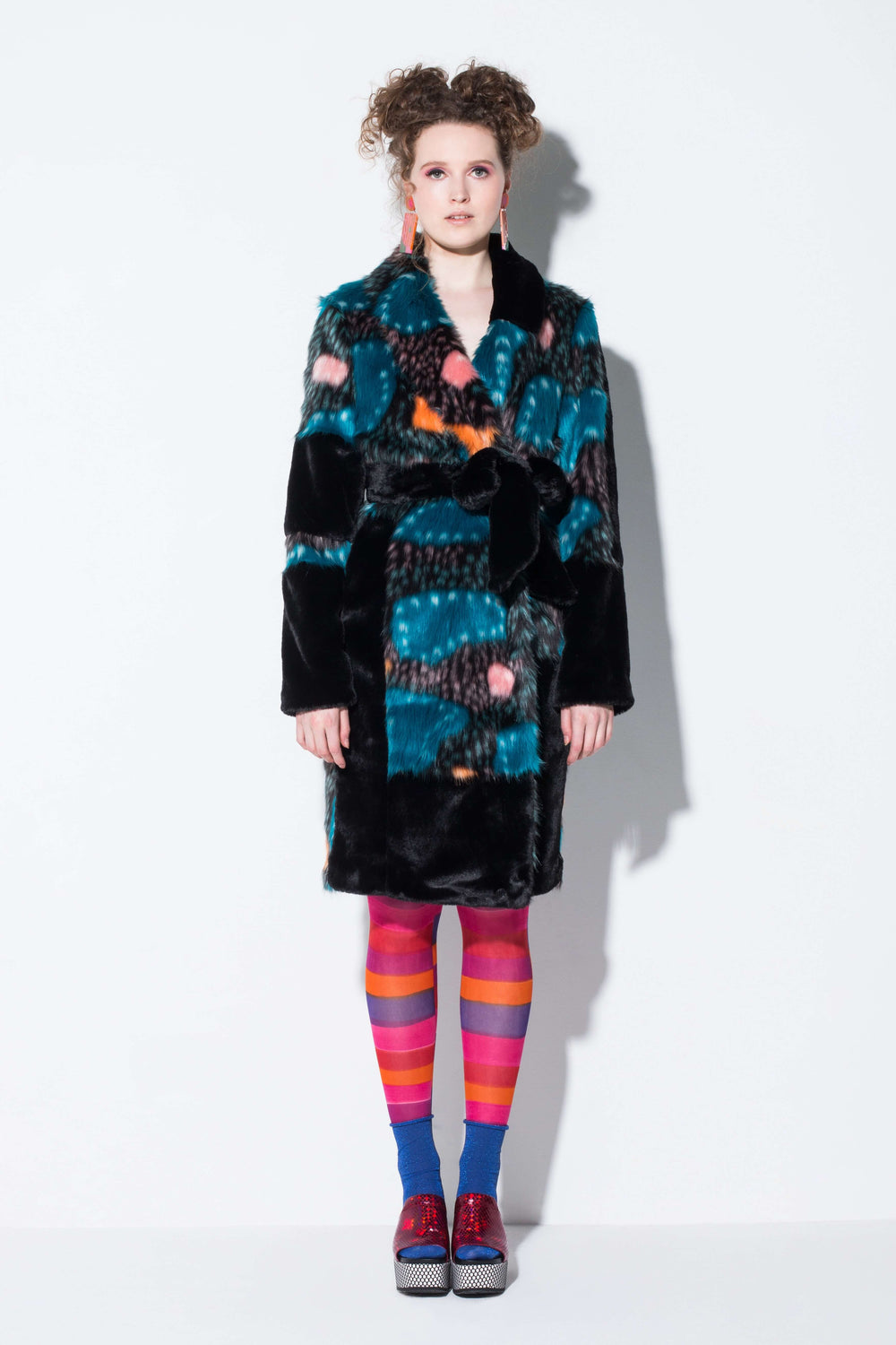 pajama party| a romantic faux fur trench coat in the blue galaxy pattern from jin & yin front view