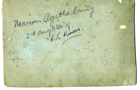 Mystery Baby Photo Reverse showing name as Marion Agatha Emily 3rd daughter of C L Rivers