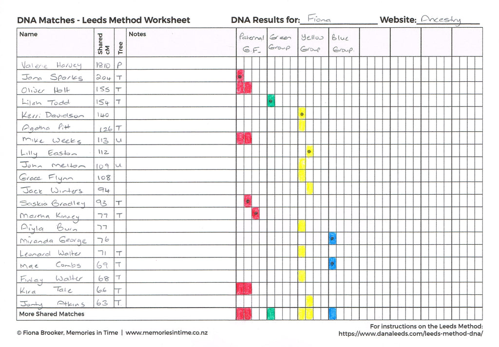 DNA Matches Leeds Method Worksheet