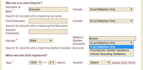 GRO Birth Search with maiden name