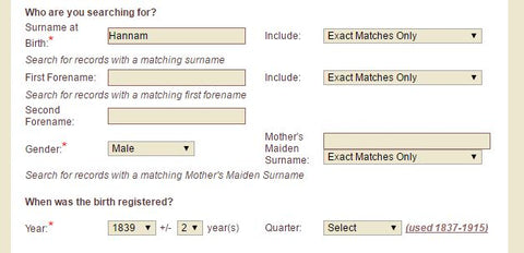 GRO Birth Search with Years