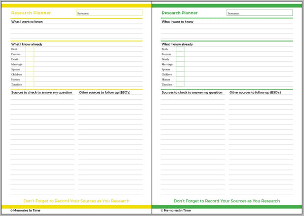 Family History Research Planner - Downloadable