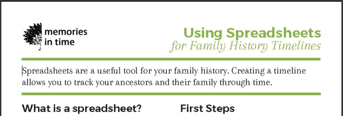 Using Spreadsheets for Family History Timelines