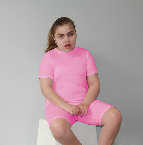 Pink Zip Back Short Sleeve/knee length Jumpsuit  |  Wonsie - Wonsie