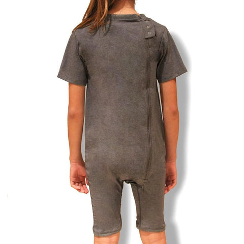 Grey Zip Back Short Sleeve/knee length Jumpsuit  |  Wonsie