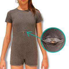 Grey Tummy Access Short Sleeve Bodysuit  |  Wonsie