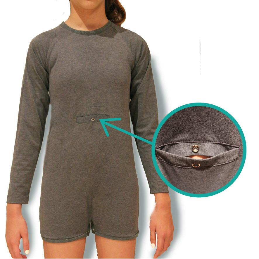 Grey Tummy Access Long Sleeve Bodysuit  |  Wonsie