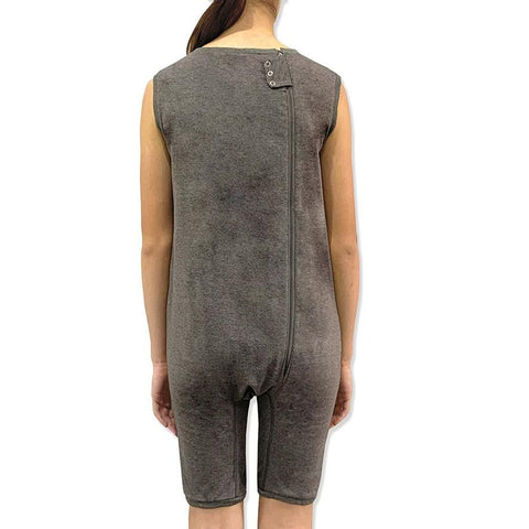 Grey Zip Back Sleeveless/knee length Jumpsuit  |  Wonsie