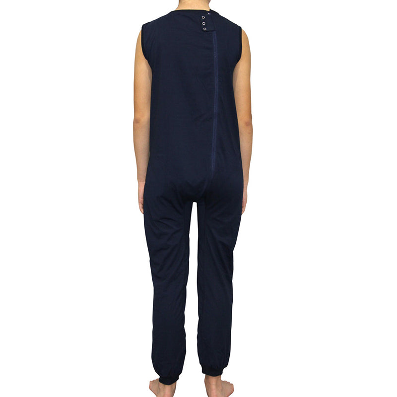Navy Zip Back Sleeveless/Long Leg Jumpsuit  |  Wonsie
