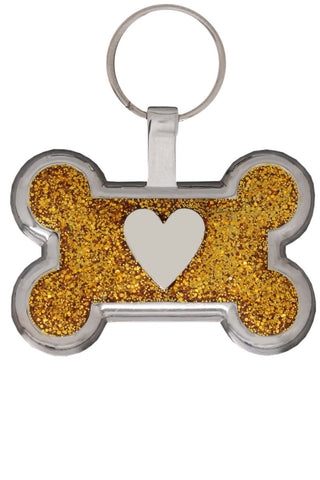 Blue Glitter Love Heart Pet Tag