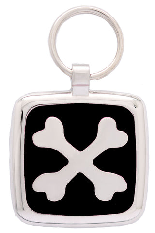 Bright Pink Cross Bone Pet Id Tag